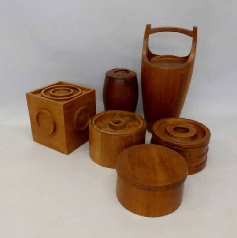 Collection of Danish Dansk Teak Quistgaard Ice Buckets For Sale 1