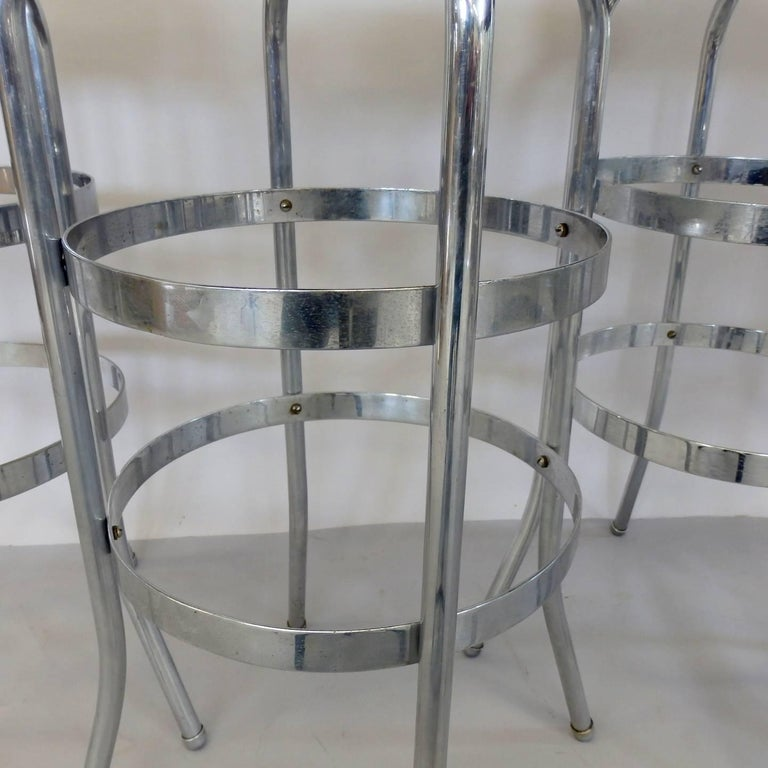Set of Four Lloyd Chrome Art Deco Barstools For Sale 1