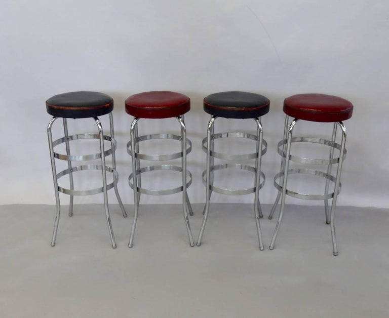 American Set of Four Lloyd Chrome Art Deco Barstools For Sale