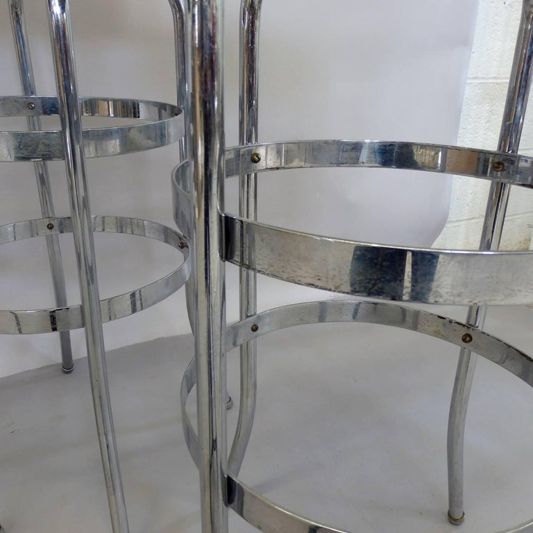 Set of Four Lloyd Chrome Art Deco Barstools For Sale 2