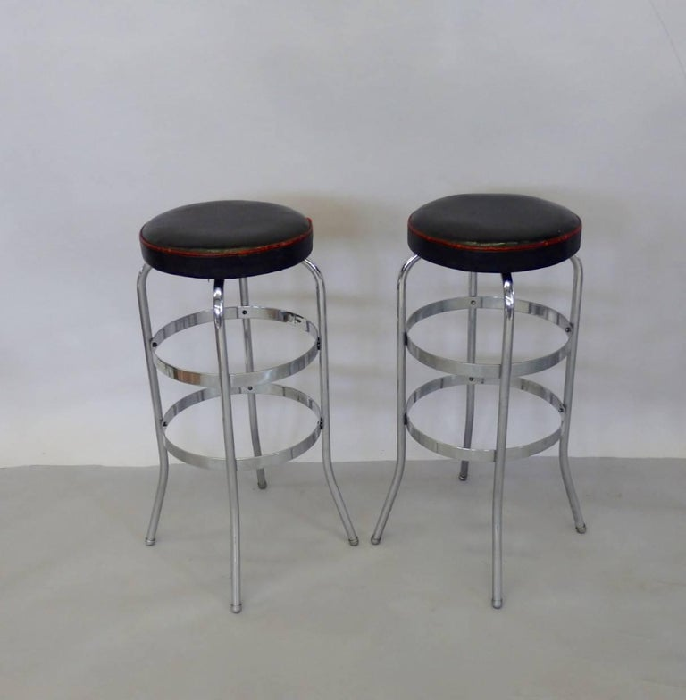 Set of Four Lloyd Chrome Art Deco Barstools In Fair Condition For Sale In Ferndale, MI