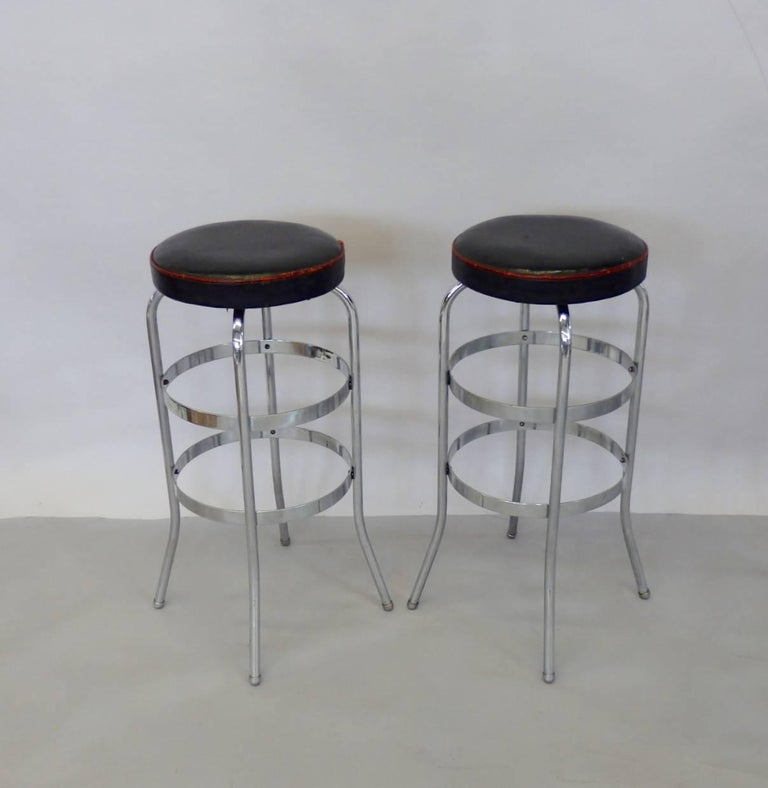 Mid-20th Century Set of Four Lloyd Chrome Art Deco Barstools For Sale