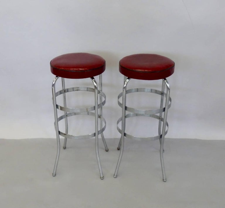 Set of Four Lloyd Chrome Art Deco Barstools For Sale 8