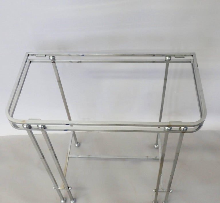 Mid-20th Century Pair of Donald Deskey Style Art Deco Machine Age Chrome Console Side Tables For Sale