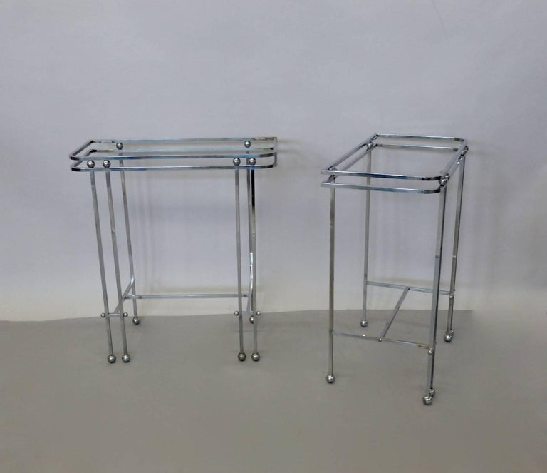 Pair of Donald Deskey Style Art Deco Machine Age Chrome Console Side Tables For Sale 3