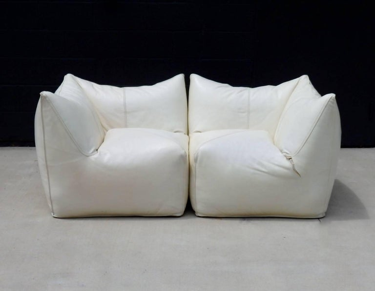 Italian Seven Piece Mario Bellini B&B Italia White Leather Le Bambole Sectional For Sale