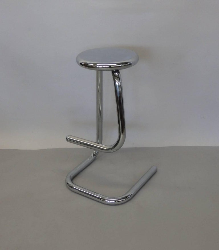 Late 20th Century 1970s Modernist Chrome Bar or Counter Stool For Sale