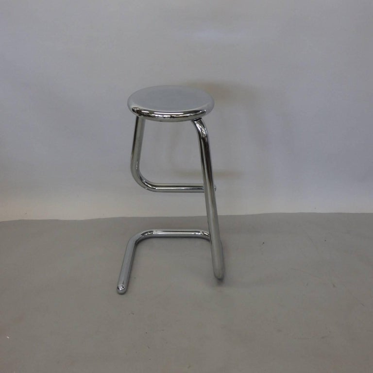 American 1970s Modernist Chrome Bar or Counter Stool For Sale