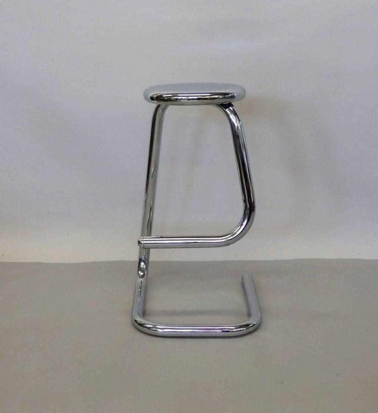 Mid-Century Modern 1970s Modernist Chrome Bar or Counter Stool For Sale