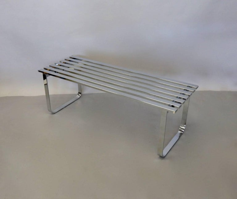 American Milo Baughman for DIA Chrome Slat Bench Coffee Table For Sale