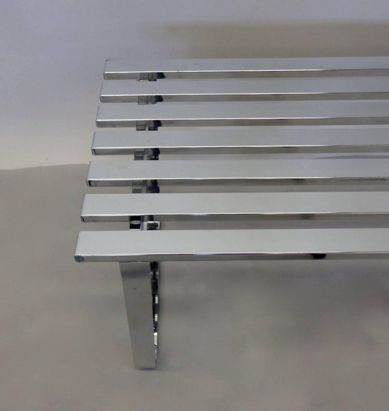 20th Century Milo Baughman for DIA Chrome Slat Bench Coffee Table For Sale