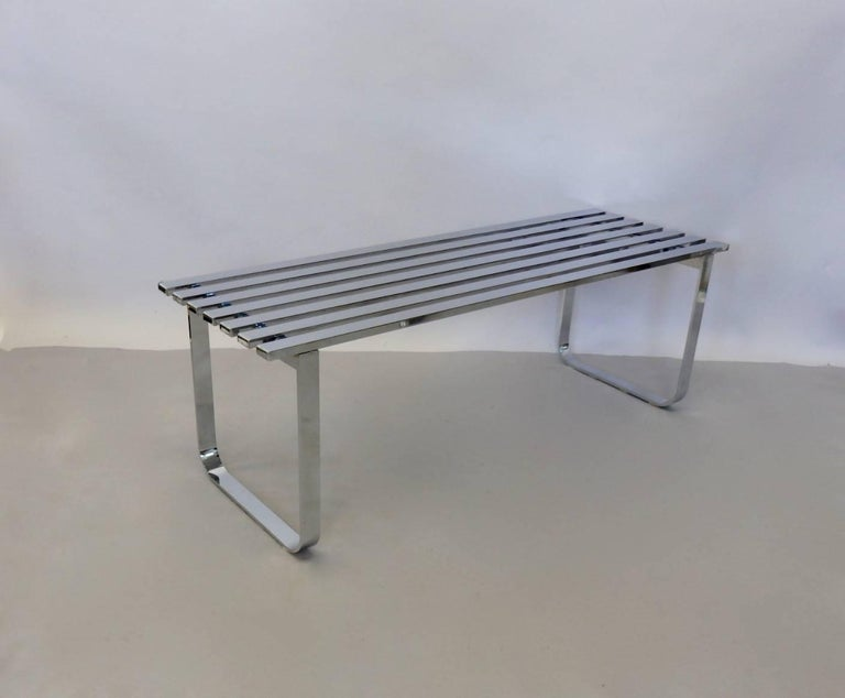 Milo Baughman for DIA Chrome Slat Bench Coffee Table For Sale 3