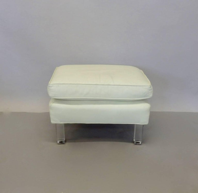 American Springer Era 1970s White Leather Ottoman on Lucite Legs For Sale
