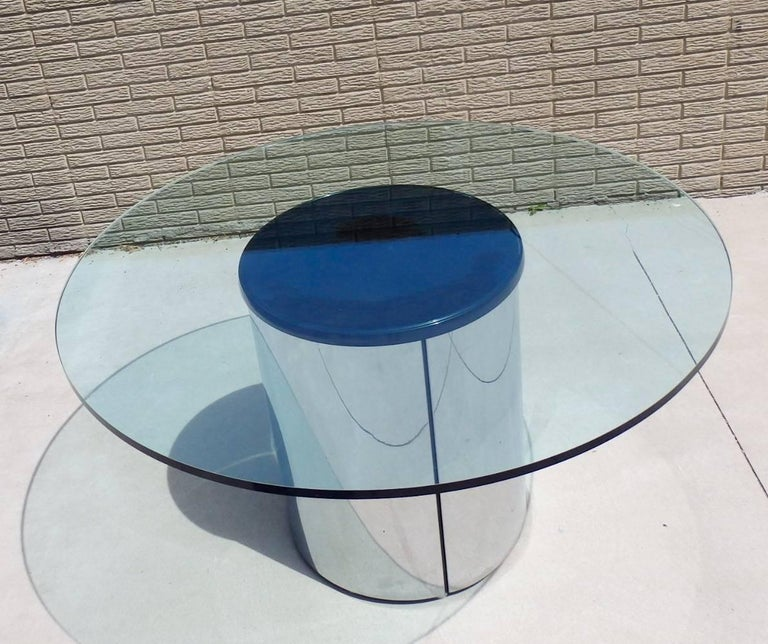 Polished Large Round Glass Top Pace Table with Stainless Steel Base For Sale