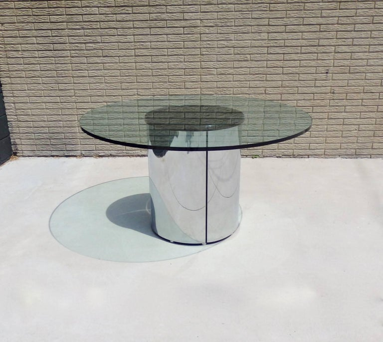 Mid-Century Modern Large Round Glass Top Pace Table with Stainless Steel Base For Sale