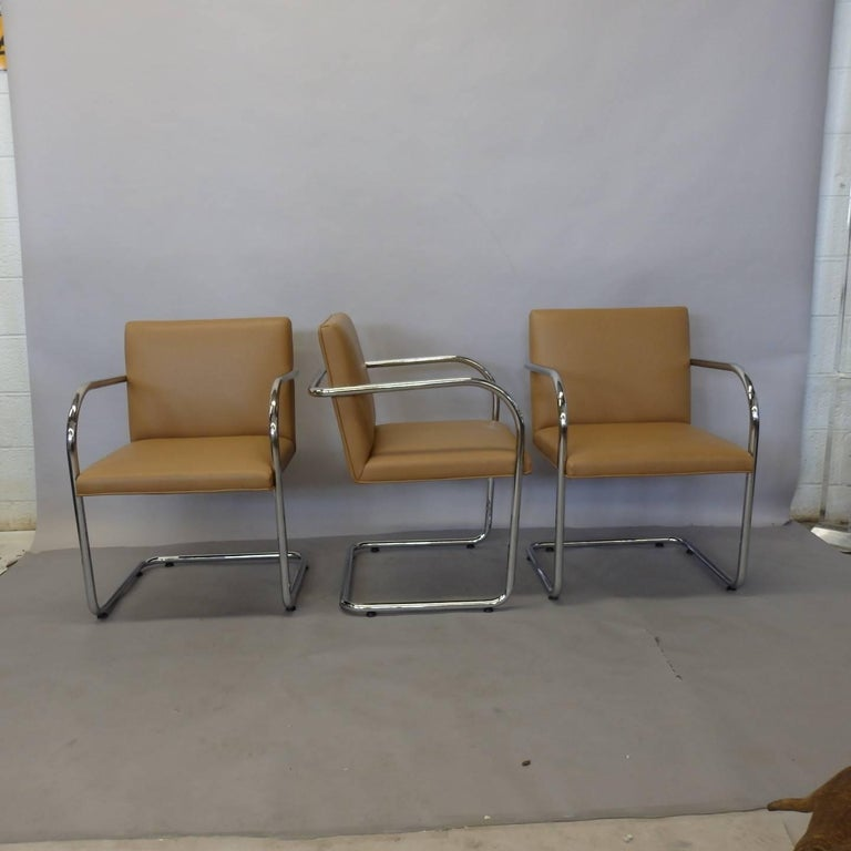 Four Knoll Mies van der Rohe Brno Chrome Tube Chairs In Excellent Condition For Sale In Ferndale, MI
