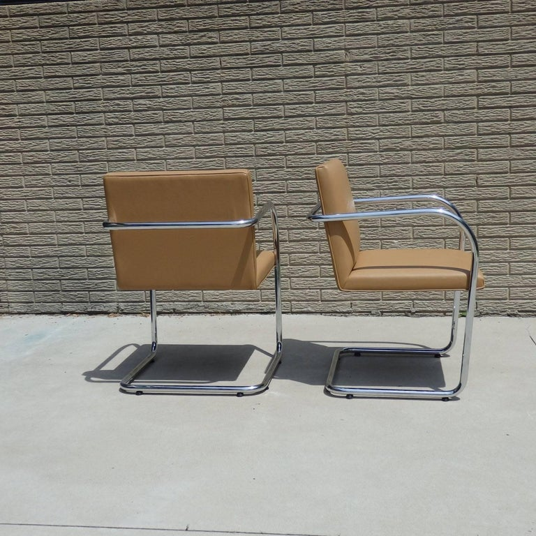 International Style Four Knoll Mies van der Rohe Brno Chrome Tube Chairs For Sale