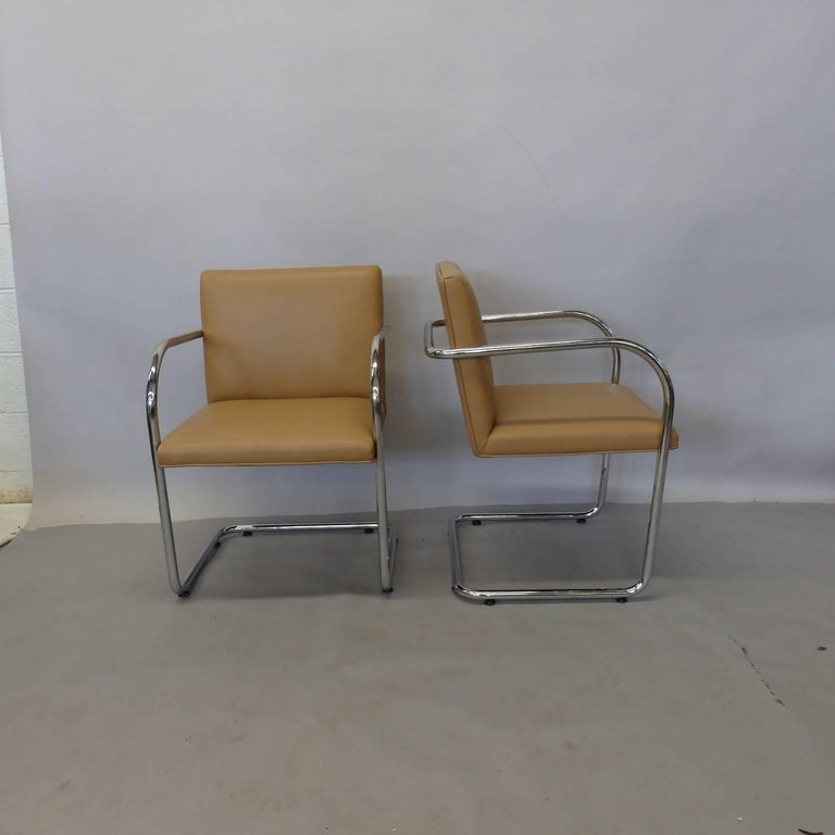 20th Century Four Knoll Mies van der Rohe Brno Chrome Tube Chairs For Sale