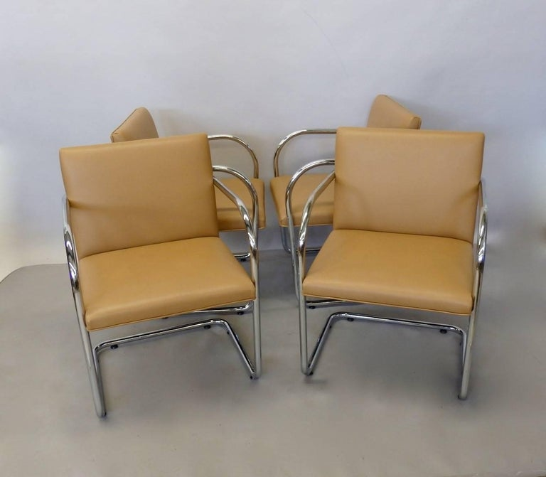 Four Knoll Mies van der Rohe Brno Chrome Tube Chairs For Sale 4