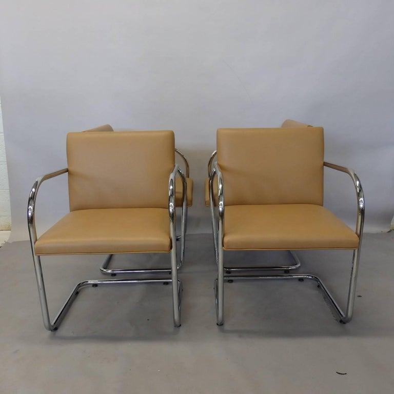 Four Knoll Mies van der Rohe Brno Chrome Tube Chairs For Sale 3