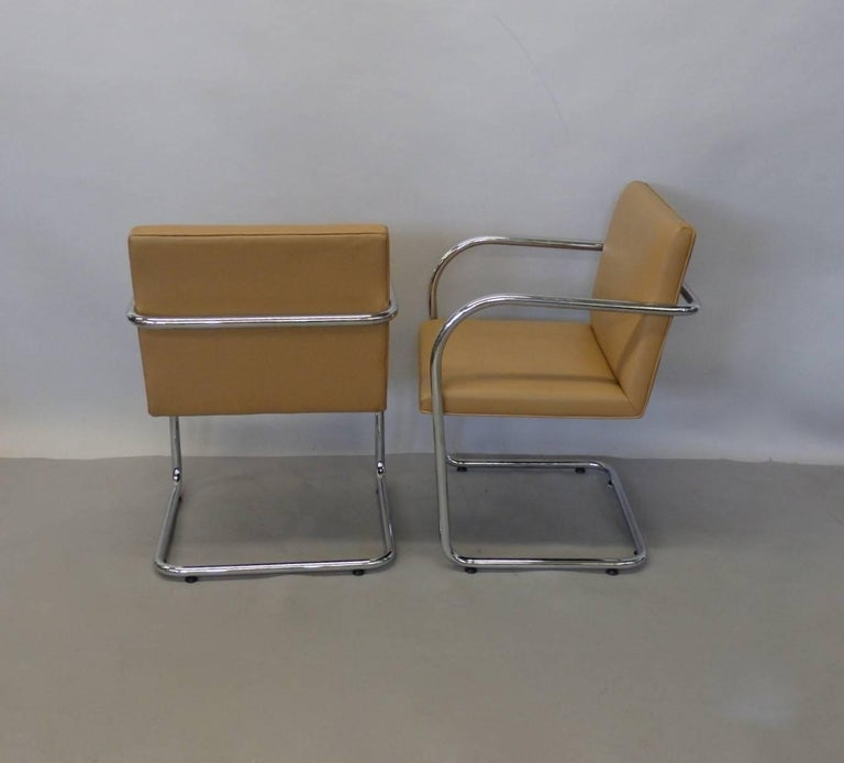 Four Knoll Mies van der Rohe Brno Chrome Tube Chairs For Sale 6