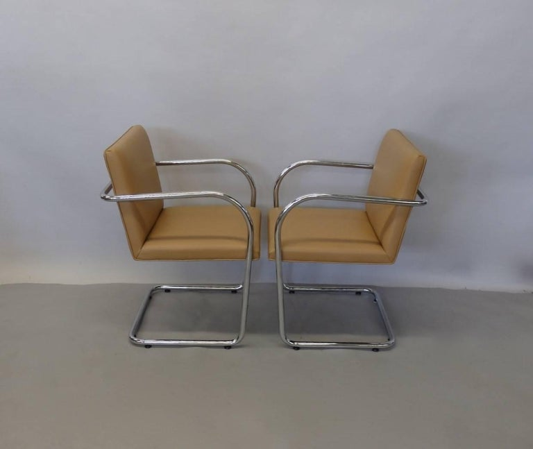Four Knoll Mies van der Rohe Brno Chrome Tube Chairs For Sale 5