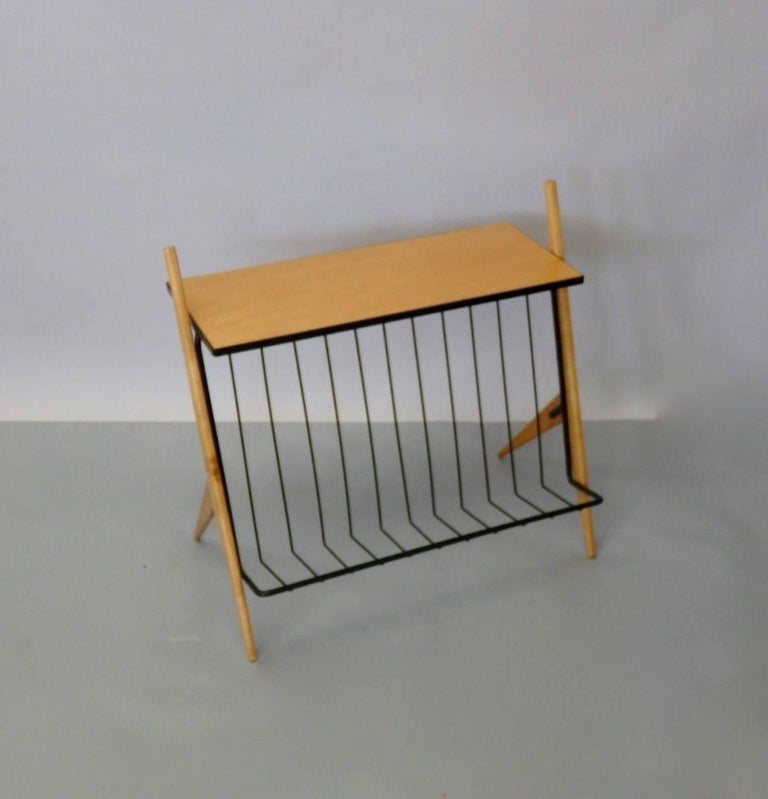 Mid-Century Modern Arthur Umanoff Wrought Iron Blonde Wood Magazine Stand Side Table For Sale