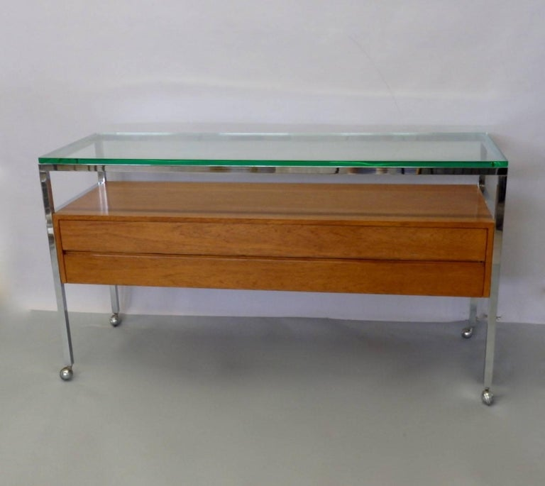 Mid-Century Modern Custom Florence Knoll Attributed Glass Top Teak Display Credenza For Sale