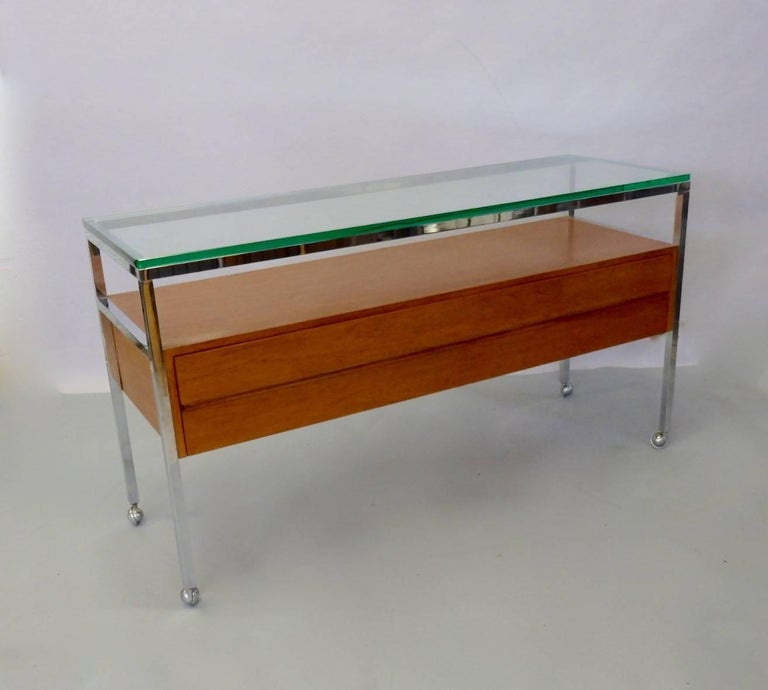 American Custom Florence Knoll Attributed Glass Top Teak Display Credenza For Sale