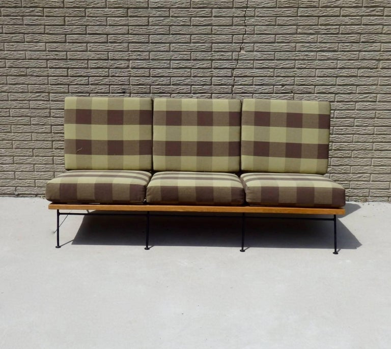 American Saarinen Swanson Wrought Iron with Wood Frame Couch For Sale