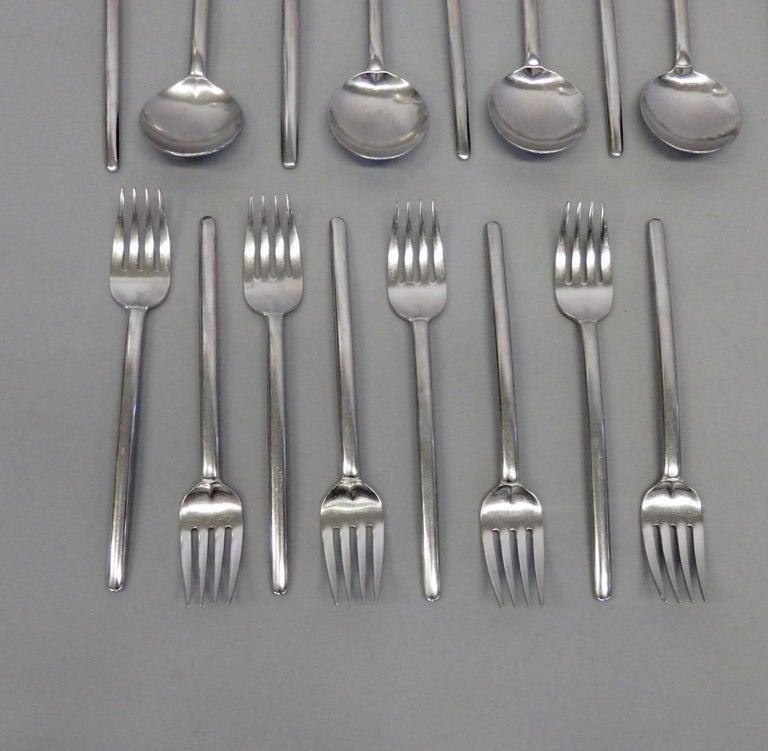 Stainless Steel Lauffer Holland Five-Piece Modernist Setting for Eight Flatware Table Utensils For Sale
