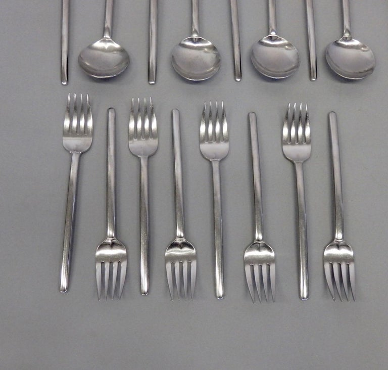 20th Century Lauffer Holland Five-Piece Modernist Setting for Eight Flatware Table Utensils For Sale