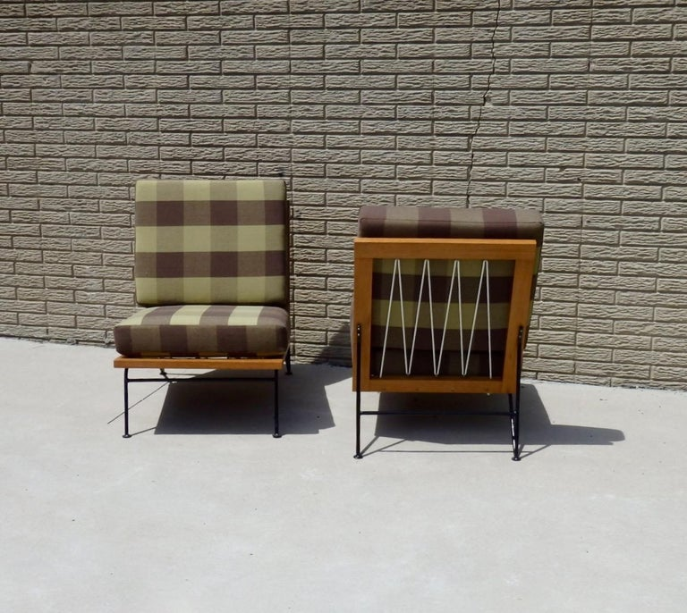 Lacquered Pair of Pipsan Saarinen Swanson Wood Frame Wrought Iron Leg Lounge Chairs For Sale