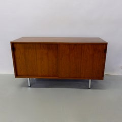 Florence Knoll for Knoll leather pull Walnut sliding door credenza