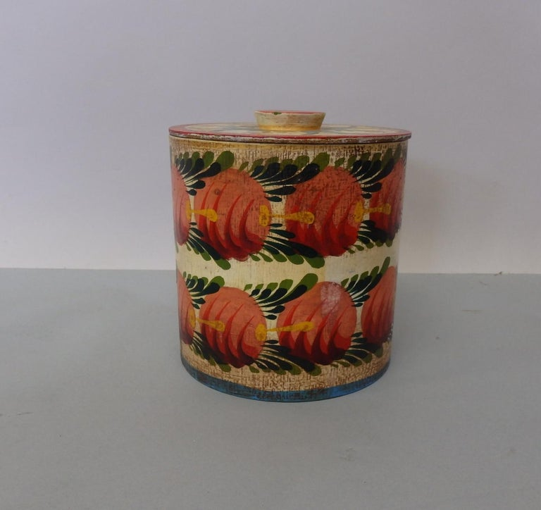 American Provincetown Folk Artist Peter Hunt Painted Covered Box For Sale