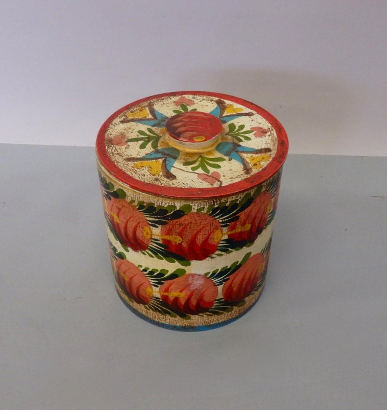 Wood Provincetown Folk Artist Peter Hunt Painted Covered Box For Sale