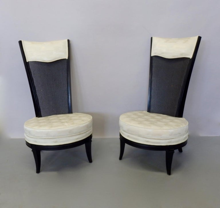 American Pair of James Mont Style Hollywood Regency Lounge Chairs For Sale