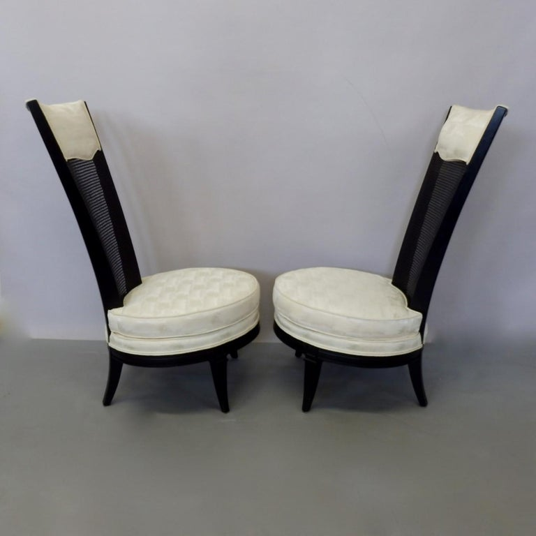 Pair of James Mont Style Hollywood Regency Lounge Chairs For Sale 1
