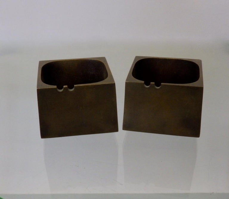 Pair of Paul Evans Style Cast Bronze Brutalist Ash Trays For Sale 2