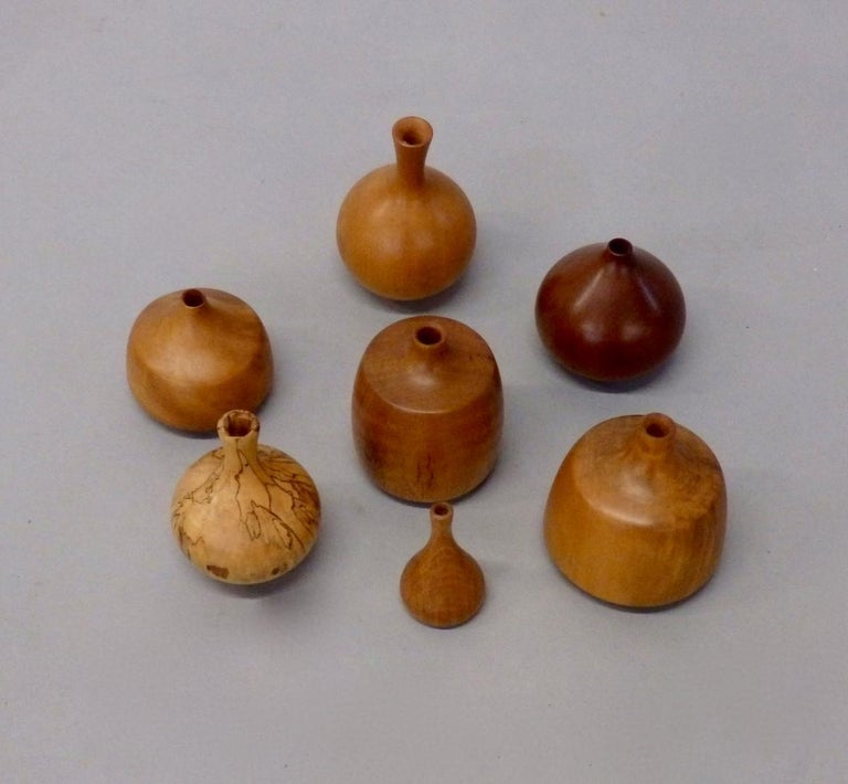 American Craftsman Collection of Seven Rude Osolnik Various Turned Wood Weed Pots For Sale