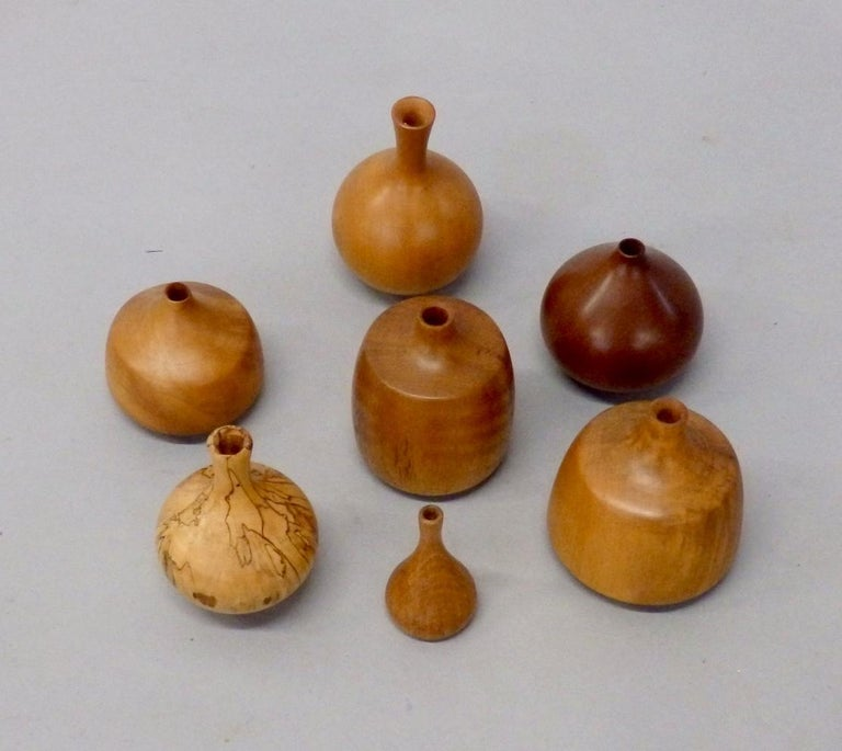 American Collection of Seven Rude Osolnik Various Turned Wood Weed Pots For Sale