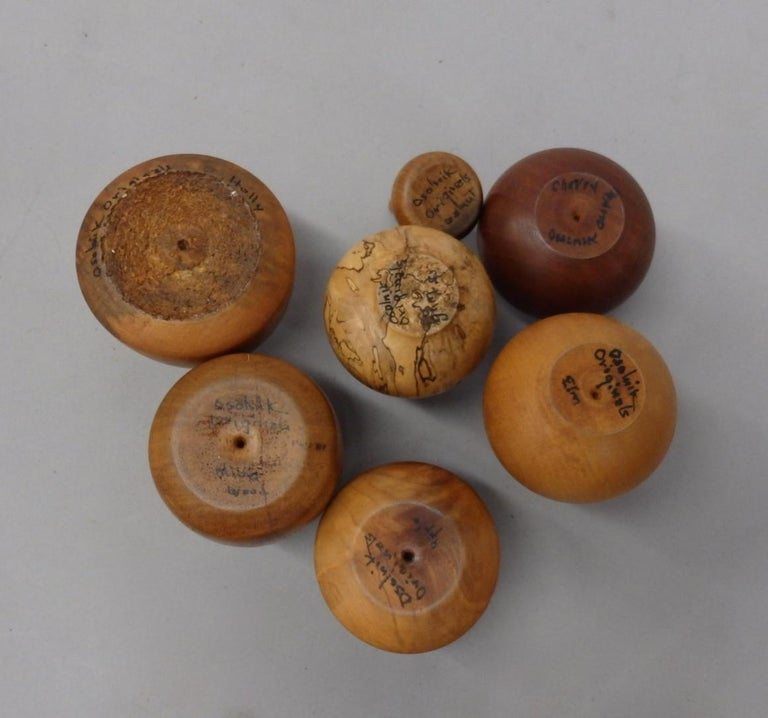 Collection of Seven Rude Osolnik Various Turned Wood Weed Pots For Sale 4
