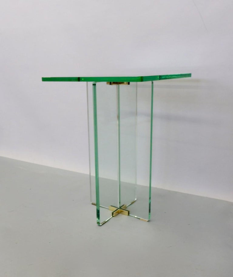 Italian Architecturally Styled Green Edge Glass Side Table Attributed to Fontana Arte For Sale