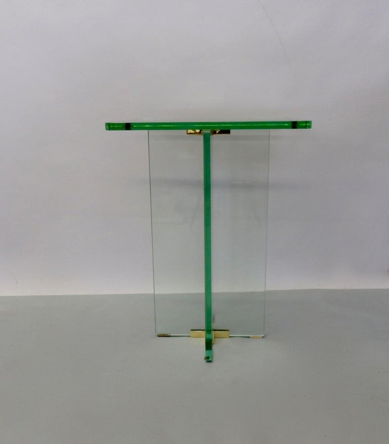 Brass Architecturally Styled Green Edge Glass Side Table Attributed to Fontana Arte For Sale
