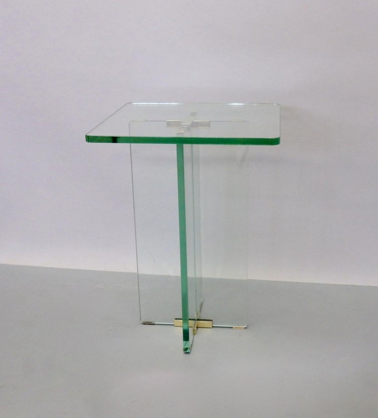 Architecturally Styled Green Edge Glass Side Table Attributed to Fontana Arte For Sale 3