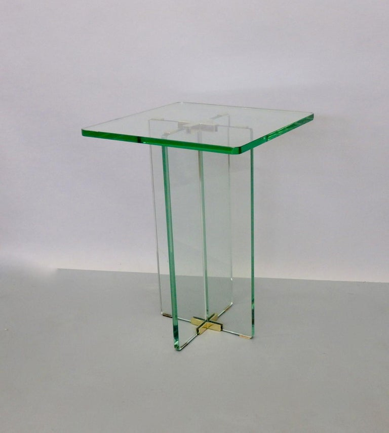 Architecturally Styled Green Edge Glass Side Table Attributed to Fontana Arte For Sale 2