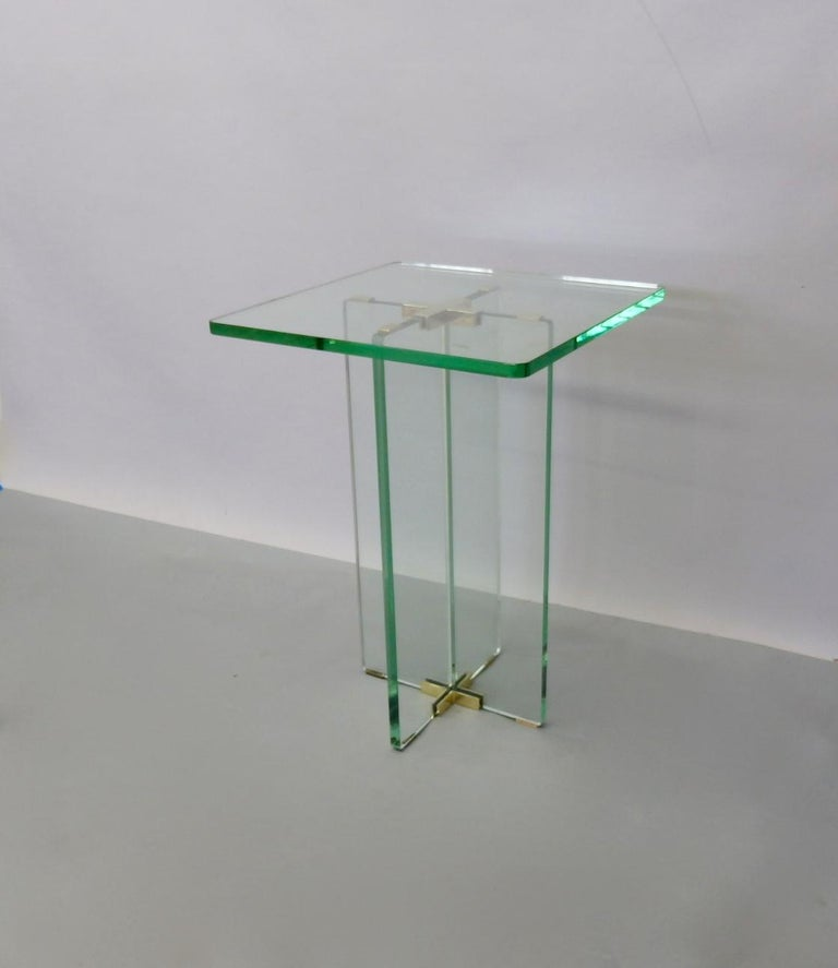 Architecturally Styled Green Edge Glass Side Table Attributed to Fontana Arte For Sale 1