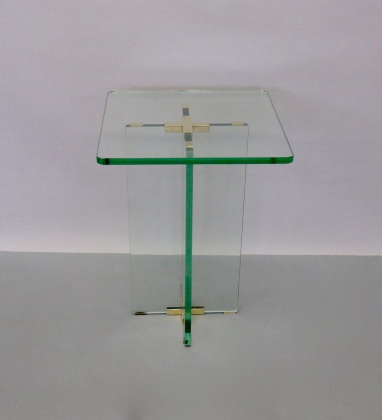 Architecturally Styled Green Edge Glass Side Table Attributed to Fontana Arte For Sale 5