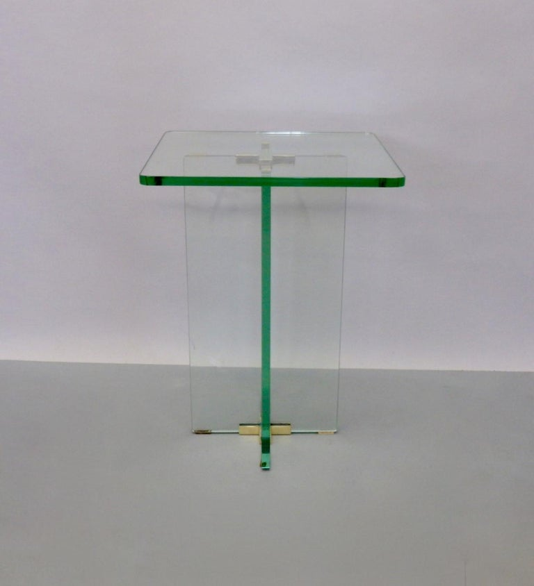Architecturally Styled Green Edge Glass Side Table Attributed to Fontana Arte For Sale 4