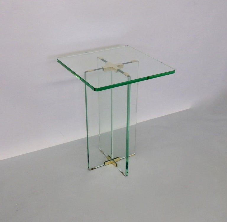 20th Century Architecturally Styled Green Edge Glass Side Table Attributed to Fontana Arte For Sale